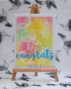 InvisiblePinkCards: Summery congrats card using STAMPlorations stamps, heat embossing and Distress Oxides