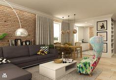 APARTAMENT NA GOCŁAWIU 120 m2 - Duży salon z bibiloteczką z jadalnią, styl eklektyczny - zdjęcie od design me too