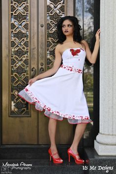 b31b002e8e2 Bleeding roses blood splatter dress white goth prom wedding stage wear  up-cycled fashion It s Me Des