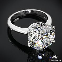 "Platinum ""Classic Knife-Edge"" Solitaire Engagement Ring set with a GLORIOUS 6.02 carat Round F VS2 diamond!"