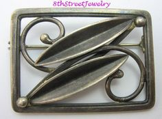 Estate Eiler & Marløe Denmark Sterling Silver S925 Modernist Leaves Pin Brooch #EilerMarle