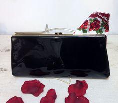 1950's Black Patent Leather Pin Up Clutch & by RetrosaurusRex