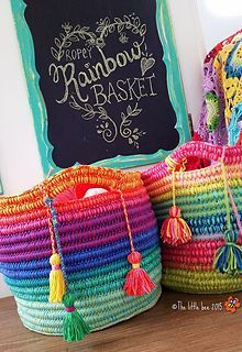 Ropey Rainbow Basket ~ free pattern ᛡ
