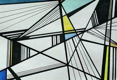Geometric Drawing, Geometric Wall Art, Minimalist Drawing, Minimalist Art, Blue Abstract, Line Art, Original Artwork, Original Paintings, Textile Art