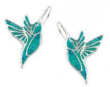 Turquoise Hummingbird Earrings - Animal Polymer Clay Jewelry - Millefiori Pattern - FREE SHIPPING