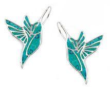 Turquoise Hummingbird Earrings - Animal Polymer Clay Jewelry - Millefiori Pattern - FREE SHIPPING