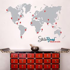 Stickerbrand Vinyl Wall Art World Map of Earth with Pin Drops Wall Decal Sticker  GREY Map w Red Black White  Grey Pins 60 x 100 Easy to Apply  Removable  FREE Application Squeegee ** You can find out more details at the link of the image. (This is an affiliate link and I receive a commission for the sales)