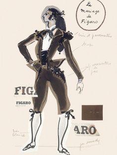 en 1964 yves saint laurent cre les costumes du mariage de figaro croquis de - Piece De Theatre Le Mariage De Figaro