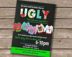 Adult Christmas Party, Christmas Party Themes, Christmas Party Invitations, Christmas Decorations, Holiday, Ugly Sweater, Ugly Christmas Sweater, Dance Themes, Being Ugly