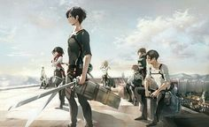 Attack on Titan characters, rooftop; Attack on Titan