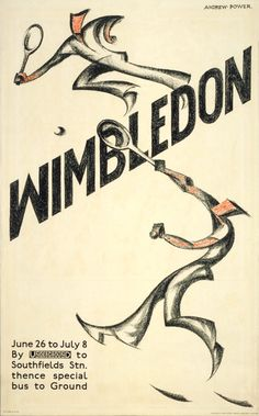 This is one of two posters commissioned by London Transport in 1933 to promote the annual tennis tournament at Wimbledon. It was designed by Sybil Andrews. Whilst studying at the New Grosve0r School of Modern Art in London, Andrews shared a studio with Cyril Power. Power was later instrumental in obtaining poster commissions for her from London Transport. She ack0wledged this by signing the work 'Andrew Power'. The other Wimbledon poster commissioned that year, designed by E A Marty, was in…