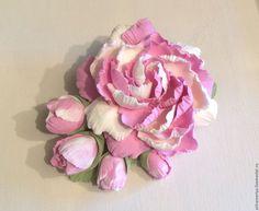 Купить Заколка Летний пион из полимерной глины - бледно-розовый, розовый, айвори