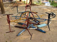 Old playground at a temple in NE Thailand.