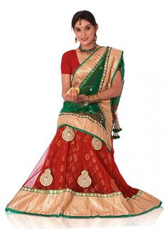 Red Pure Banarasi Brocade and Net Lehenga Choli with Gota and Zari Work