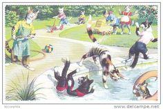 vintage postcard c. 1960s artist Eugen Hurtung, published by Alfred Mainzer