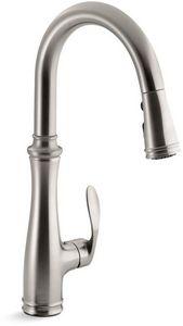 $273 Kohler Bellera® 1.8 gpm Single-Handle Deck Mount Kitchen Sink Faucet 360° Swivel High Arc Spout Gooseneck Spout 3/8 in. Compression Connection Vibrant Stainless