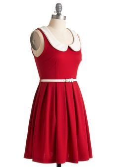 Red and white Peter Pan collar dress from ModCloth