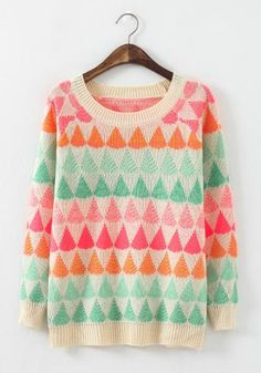 Beige Geometric Print Long Sleeve Sweater