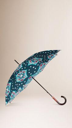 Tie-Dye Print Walking Umbrella Deep Cerulean Blue | Burberry