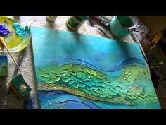 Artist Sabine Belz: Abstract Acrylic with modeling paste Part 2 of 2.