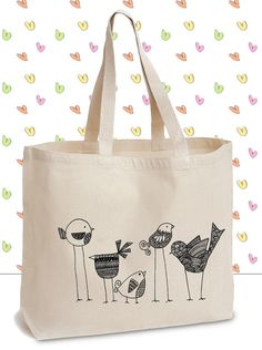 Flock of Seagulls Tote - Canvas Tote Bag with Original Ink Drawing of a cute birds - Cute Original Bag, Adorable Canvas Tote