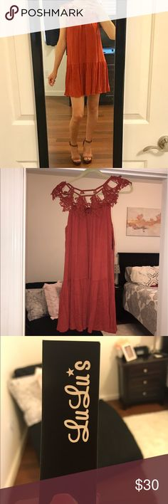 """Lulu's Summer Dress Never been worn dress with tags! Size xsmall (Girl in picture is 5'7""""). Beautiful orange/red color for summer. Lulu's Dresses Mini"""