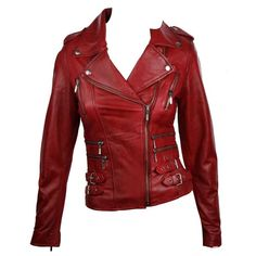 100% Ladies Real Leather Jacket Short Fitted Bikers Style Retro Red... ❤ liked on Polyvore featuring outerwear, jackets, coats, shirts, leather biker jacket, rock leather jacket, fitted jacket, 100 leather jacket and red leather jacket