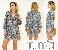 Liquorish Shirt Dress in Colourful Paisley Print! Available at: https://www.liquorishonline.com/liquorish-shirt-dress.html
