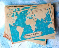 ✈ Vintage Map Wedding Invitations ✈