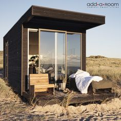 my scandinavian home: A Tiny Danish Beach Cabin That's Big On Style! House Doctor, Small Gas Stove, Cabana, Bungalow, Add A Room, Little Cabin, Inside Design, House Windows, Scandinavian Home