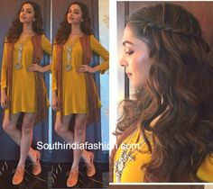 Deepika Padukone in a yellow dress at tamasha promotions
