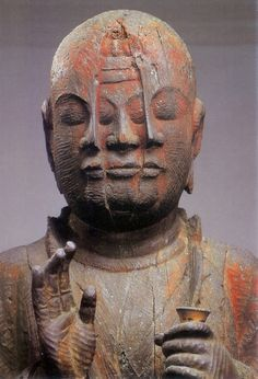 Buddha with Three Faces.Japanese important cultural property, Hoshi Washo statue, Heian Era 重要文化財 宝誌和尚立像 Heian Era, Heian Period, Culture Art, Arte Tribal, Art Premier, Religion, Buddhist Art, Religious Art, Ancient Art