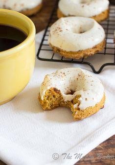 Skinny Pumpkin Cinnamon Chip Donuts ~ #SundaySupper - The Messy Baker Blog