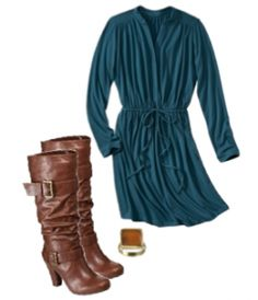 Women's Jersey Shirt Dress & Boots from Target. Perfect for Fall!