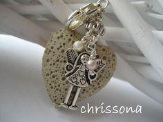 Anhänger Lavaherz Schutzengel Perlen von chrissona auf DaWanda.com