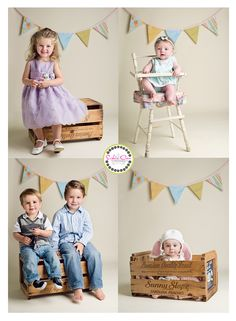 Spring Photo Shoot In St. Louis, similar crates and high chair available for rent at www.finchvintage.com