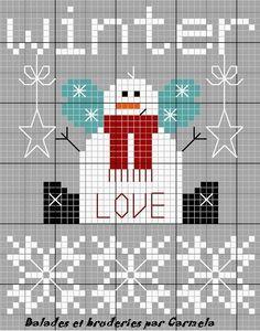 winter-love.jpg. Grafico muñeco nieve punto cruz. Cross stitch