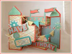 """Deb used the Funhouse Card from SUMMER STREET CARNIVAL SVG KIT to make this """"fun""""  Birthday card!"""