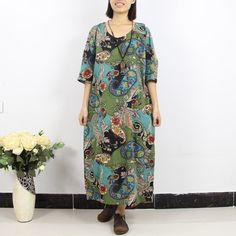 Women Maxi Dress Plus Size Dress Cotton Linen by loosedress2015