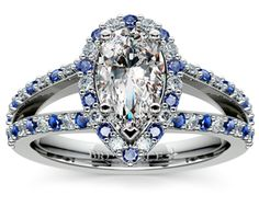 Pear Halo Split Shank Alternating Diamond & Sapphire Engagement Ring in Platinum http://www.brilliance.com/engagement-rings/halo-split-shank-diamond-sapphire-ring-platinum