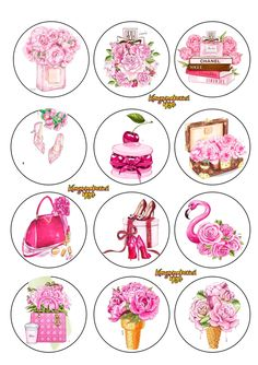 Diy Resin Crafts, Diy And Crafts, Round Stickers, Cute Stickers, Breast Cancer Party, Frozen Cupcake Toppers, Mode Poster, Homemade Stickers, Bottle Cap Images