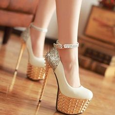 #Shoes #White_Golden #Woman_Glam