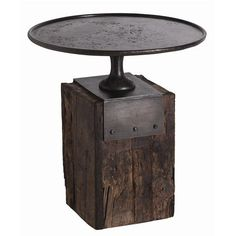 Anvil Cast Iron/Reclaimed Wood Side Table with Burnt Wax/Dark Waxed-want to knock off