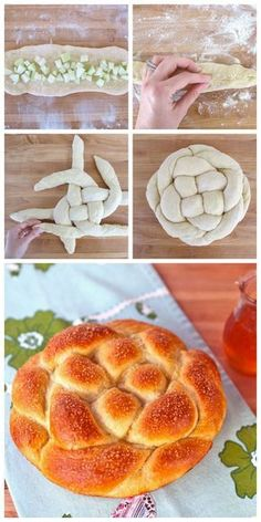 Apple Honey Challah from Tori Avey - Includes Delicious Tested Recipe and Free Braiding Instructions for a Perfect Challah Every Time. A beautiful center piece for Rosh Hashanah. Kosher Recipes, Apple Recipes, Holiday Recipes, Cooking Recipes, Comida Judaica, Challah Bread Recipes, Bread Shaping, Jewish Recipes, Sukkot Recipes