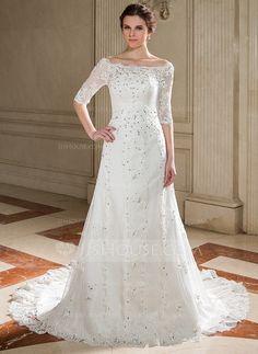 Wedding Dresses - $226.99 - A-Line/Princess Off-the-Shoulder Court Train Tulle Wedding Dress With Lace Beadwork Sequins (002011446) http://jjshouse.com/A-Line-Princess-Off-The-Shoulder-Court-Train-Tulle-Wedding-Dress-With-Lace-Beadwork-Sequins-002011446-g11446?pos=related_products_9
