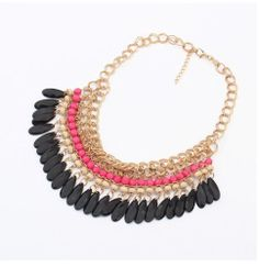 2014 Hot Fashion Charm Retro Styles Multicolour Resin Bead Bib Choker Necklace