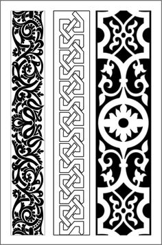 Stencil Templates, Stencil Patterns, Stencil Designs, Decorative Metal Screen, Decorative Lines, Vector Pattern, Pattern Art, Vintage Typography, Vintage Logos