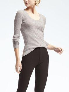 Merino Ribbed Scoop Neck Sweater