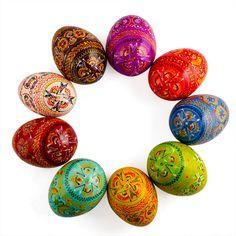 9 Ukrainian Hand Painted Wooden Pysanky Easter Eggs