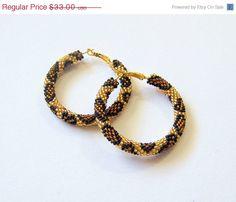 SUMMER SALE Brown Golden Beaded hoop earrings - Beadwork - Leopard skin print - seed beads earrings - Geometric earrings - animal print (29.70 USD) by lutita